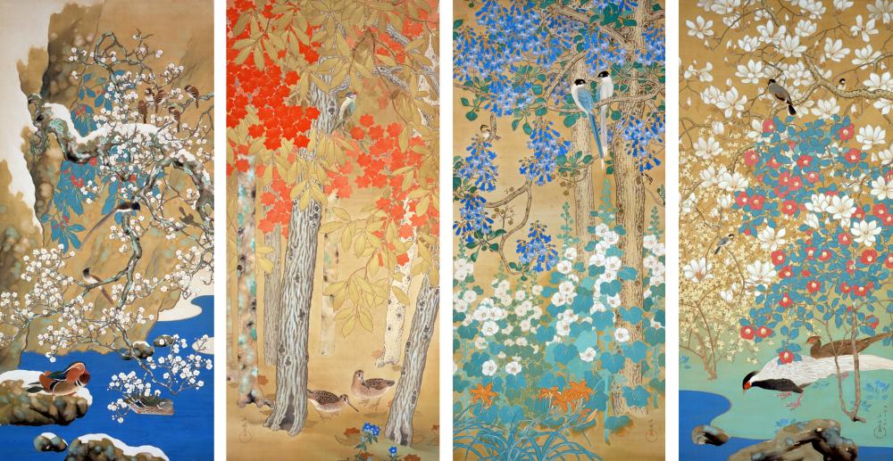 荒木十畝《四季花鳥》